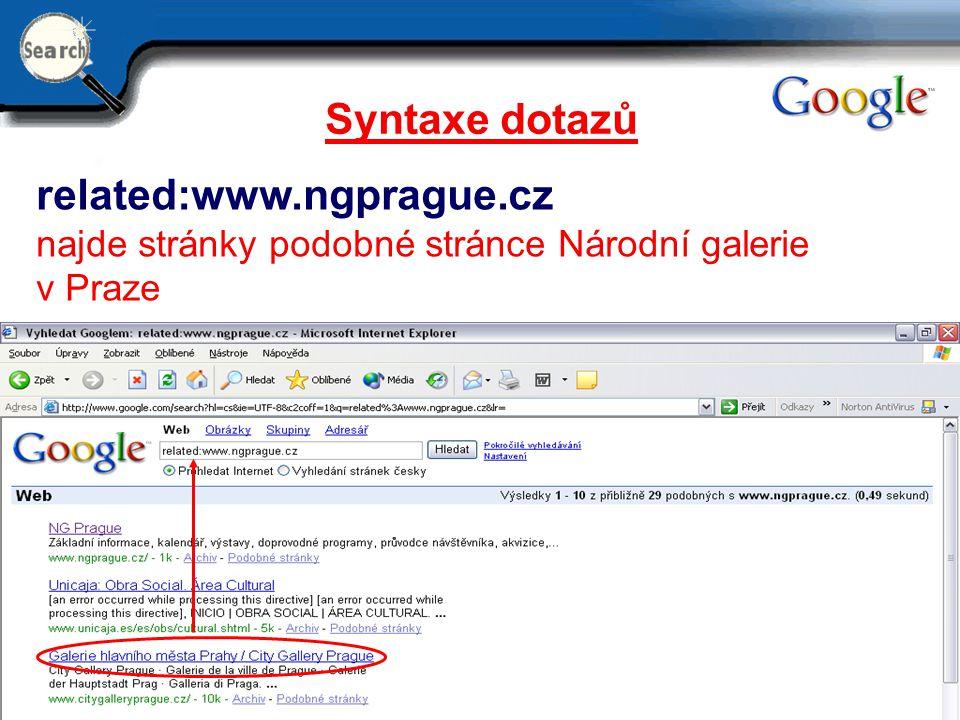 29.6.2014 20 Syntaxe dotazů related:www.ngprague.cz najde stránky podobné stránce Národní galerie v Praze