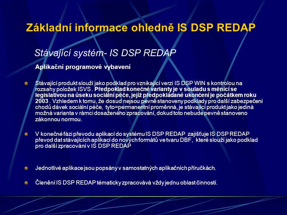 Základní informace ohledně IS DSP REDAP Aplikační programové vybavení Stávající produkt slouží jako podklad pro vznikající verzi IS DSP WIN s kontrolou na rozsahy položek ISVS.