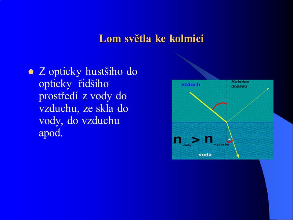 Informace  Lom neboli refrakce je přechod světla rozhraním dvou optických prostředí, při kterém se paprsek láme.