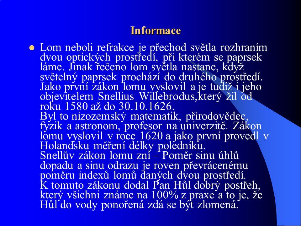 Další informace  Lom světla je způsoben změnou rychlosti světla.