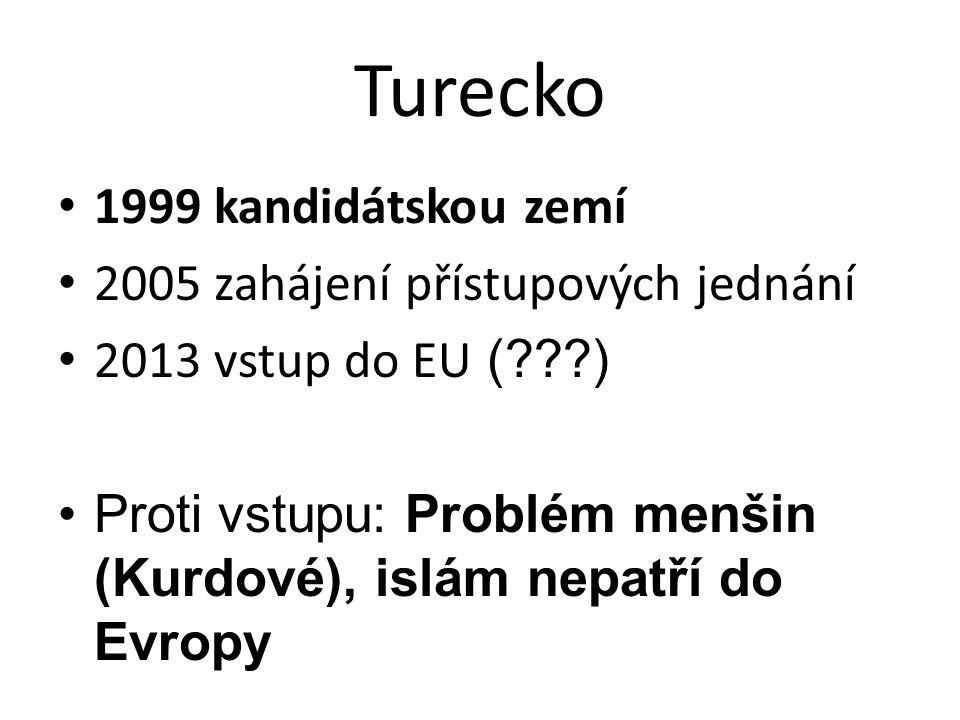 Turecko • 1999 kandidátskou zemí • 2005 zahájení přístupových jednání • 2013 vstup do EU (???) •Proti vstupu: Problém menšin (Kurdové), islám nepatří do Evropy