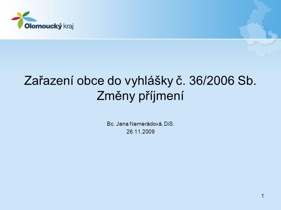 1 Zařazení obce do vyhlášky č. 36/2006 Sb. Změny příjmení Bc. Jana Nemerádová, DiS. 26.11.2009