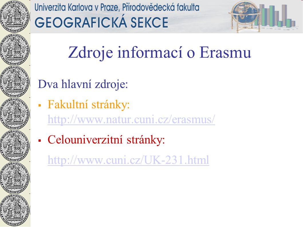 Zdroje informací o Erasmu Dva hlavní zdroje:  Fakultní stránky: http://www.natur.cuni.cz/erasmus/ http://www.natur.cuni.cz/erasmus/  Celouniverzitní stránky: http://www.cuni.cz/UK-231.html