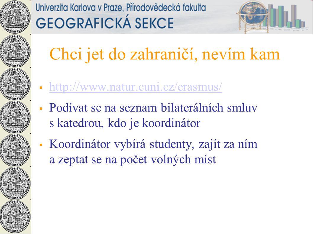 Chci jet do zahraničí, nevím kam  http://www.natur.cuni.cz/erasmus/ http://www.natur.cuni.cz/erasmus/  Podívat se na seznam bilaterálních smluv s katedrou, kdo je koordinátor  Koordinátor vybírá studenty, zajít za ním a zeptat se na počet volných míst