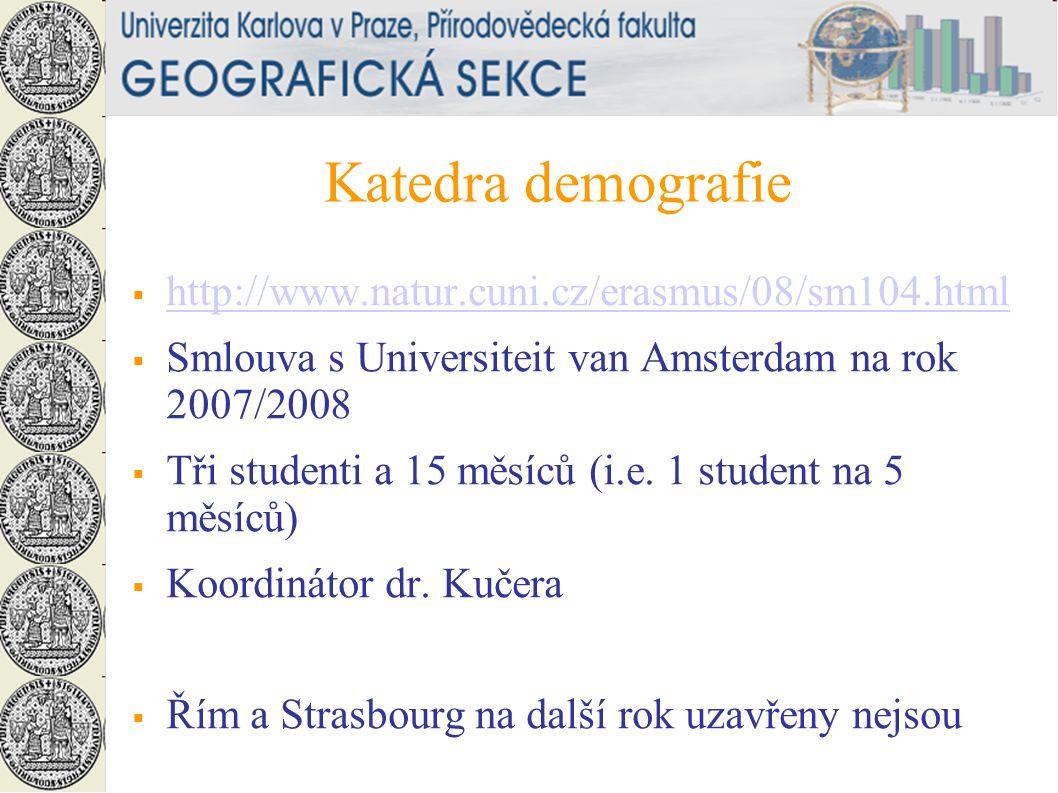 Katedra demografie  http://www.natur.cuni.cz/erasmus/08/sm104.html http://www.natur.cuni.cz/erasmus/08/sm104.html  Smlouva s Universiteit van Amsterdam na rok 2007/2008  Tři studenti a 15 měsíců (i.e.