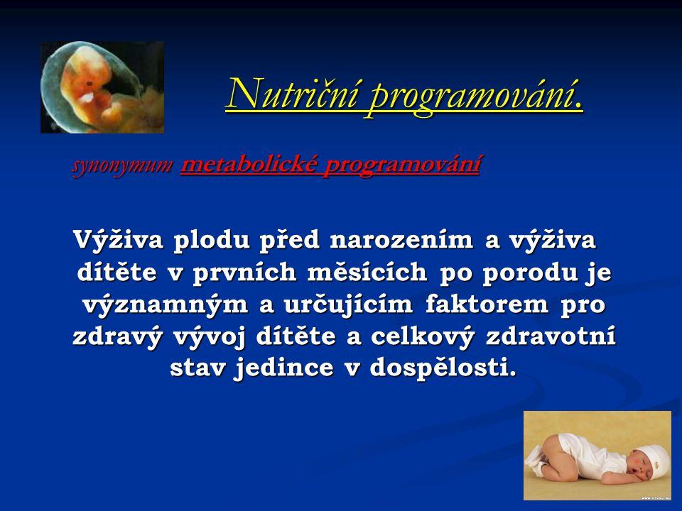 Nutriční programování. Nutriční programování. synonymum metabolické programování synonymum metabolické programování Výživa plodu před narozením a výži