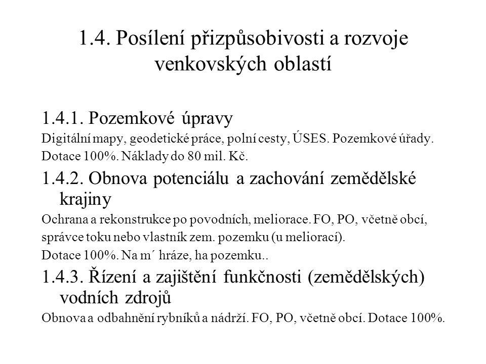 1.4.Posílení přizpůsobivosti a rozvoje venkovských oblastí 1.4.1.