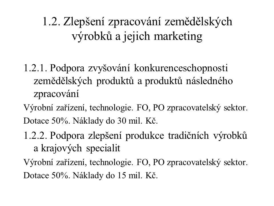 1.2. Zlepšení zpracování zemědělských výrobků a jejich marketing 1.2.1. Podpora zvyšování konkurenceschopnosti zemědělských produktů a produktů násled