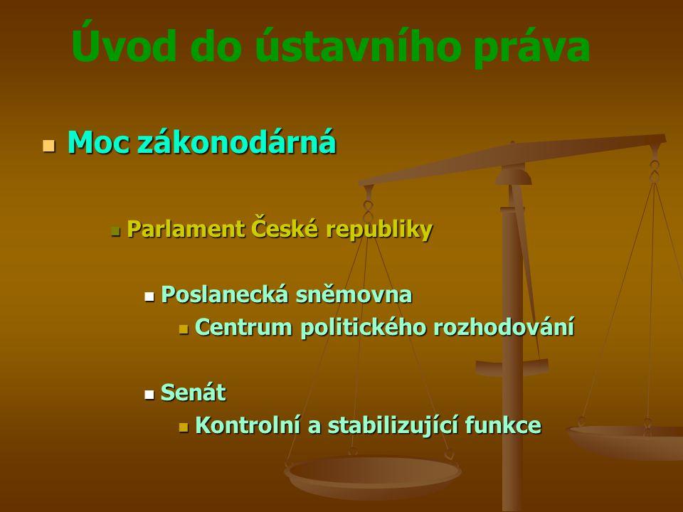 Úvod do ústavního práva  Moc zákonodárná  Parlament České republiky  Poslanecká sněmovna  Centrum politického rozhodování  Senát  Kontrolní a st