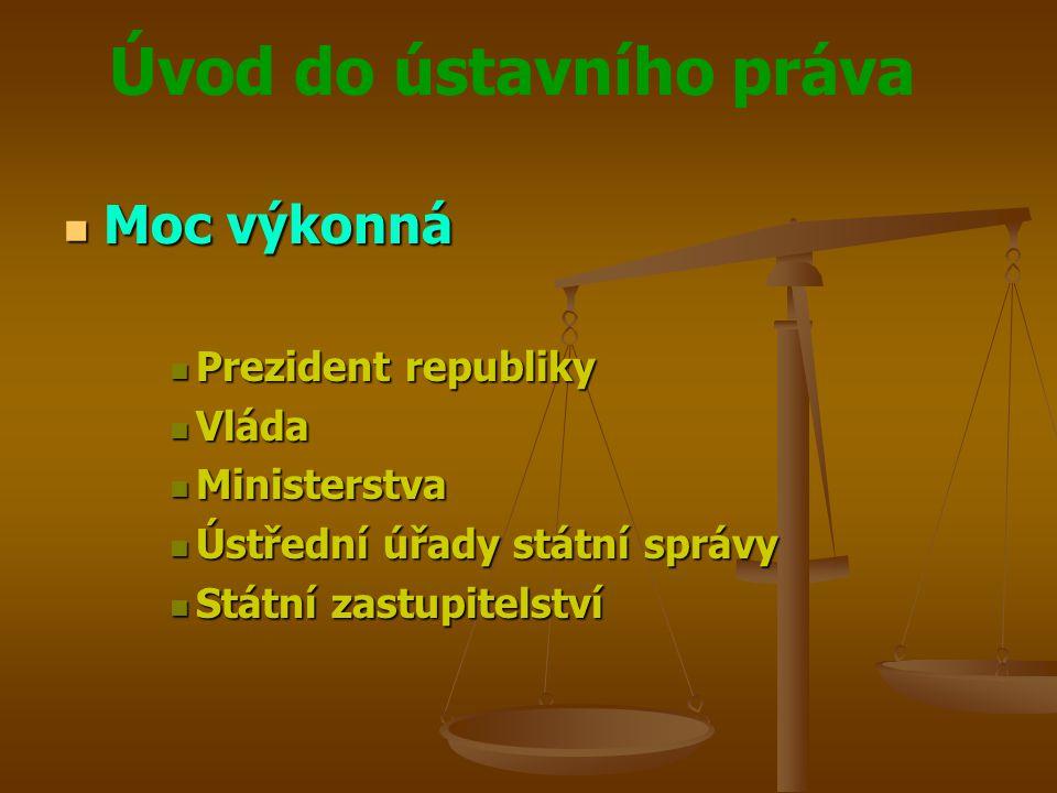 Úvod do ústavního práva  Moc výkonná  Prezident republiky  Vláda  Ministerstva  Ústřední úřady státní správy  Státní zastupitelství