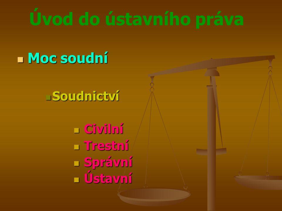 Úvod do ústavního práva  Moc soudní  Soudnictví  Civilní  Trestní  Správní  Ústavní