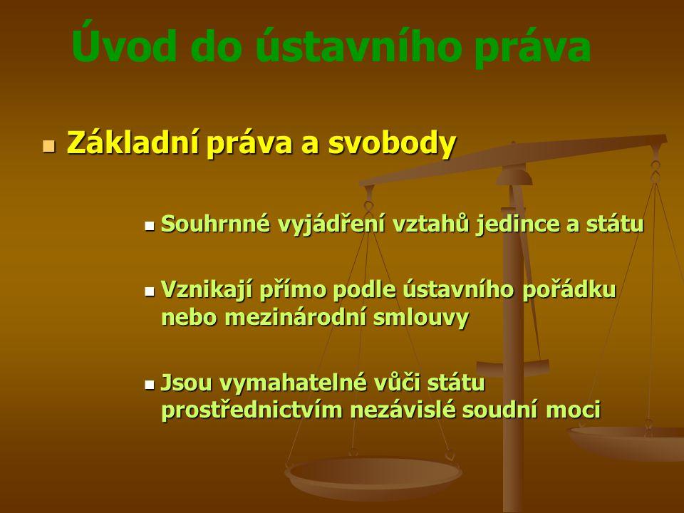 Úvod do ústavního práva  Základní práva a svobody  Souhrnné vyjádření vztahů jedince a státu  Vznikají přímo podle ústavního pořádku nebo mezinárod