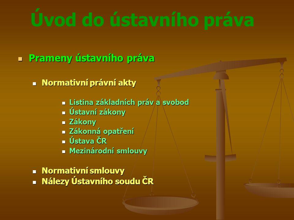 Úvod do ústavního práva  Prameny ústavního práva  Normativní právní akty  Listina základních práv a svobod  Ústavní zákony  Zákony  Zákonná opat