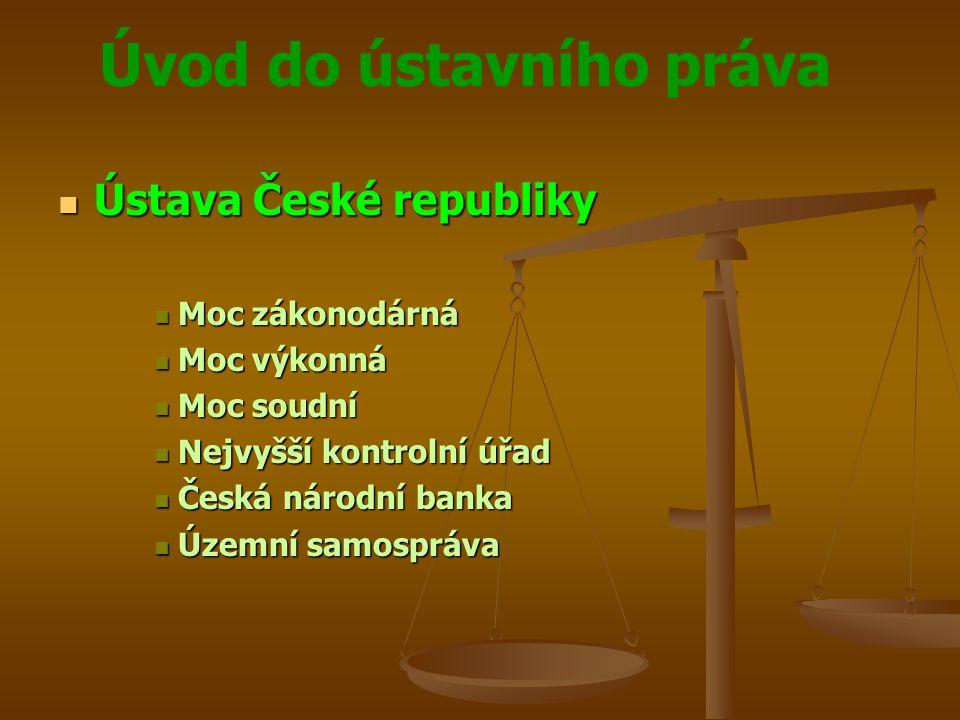 Úvod do ústavního práva  Ústava České republiky  Moc zákonodárná  Moc výkonná  Moc soudní  Nejvyšší kontrolní úřad  Česká národní banka  Územní