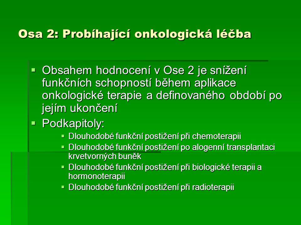 Osa 2: Probíhající onkologická léčba  Obsahem hodnocení v Ose 2 je snížení funkčních schopností během aplikace onkologické terapie a definovaného obd