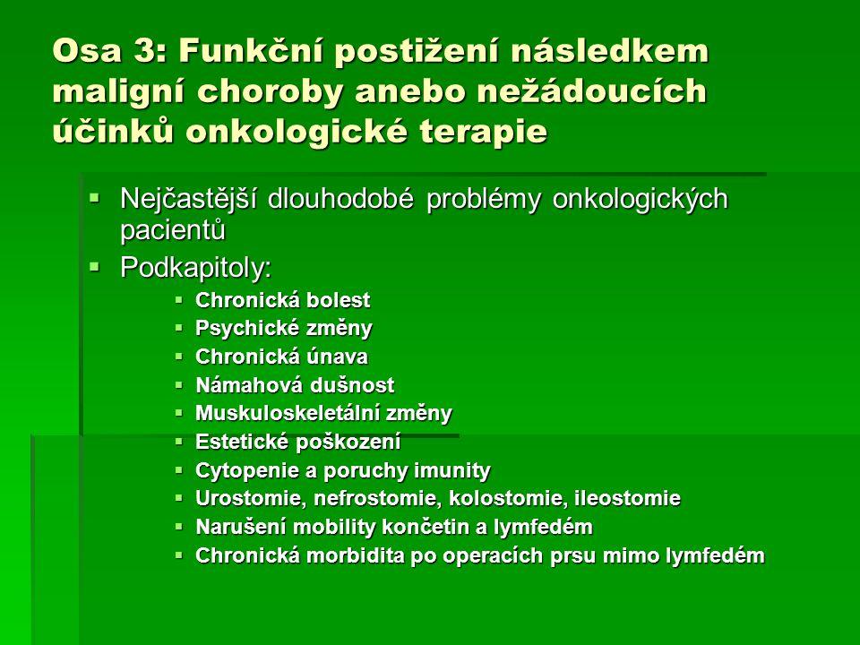 Osa 3: Funkční postižení následkem maligní choroby anebo nežádoucích účinků onkologické terapie  Nejčastější dlouhodobé problémy onkologických pacien