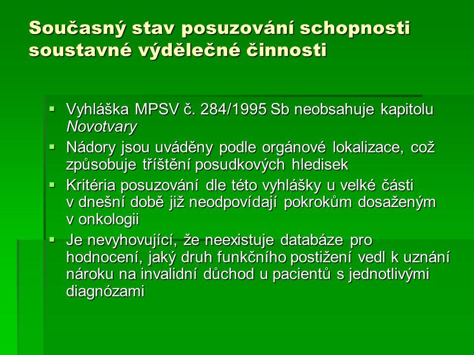 Současný stav posuzování schopnosti soustavné výdělečné činnosti  Vyhláška MPSV č. 284/1995 Sb neobsahuje kapitolu Novotvary  Nádory jsou uváděny po