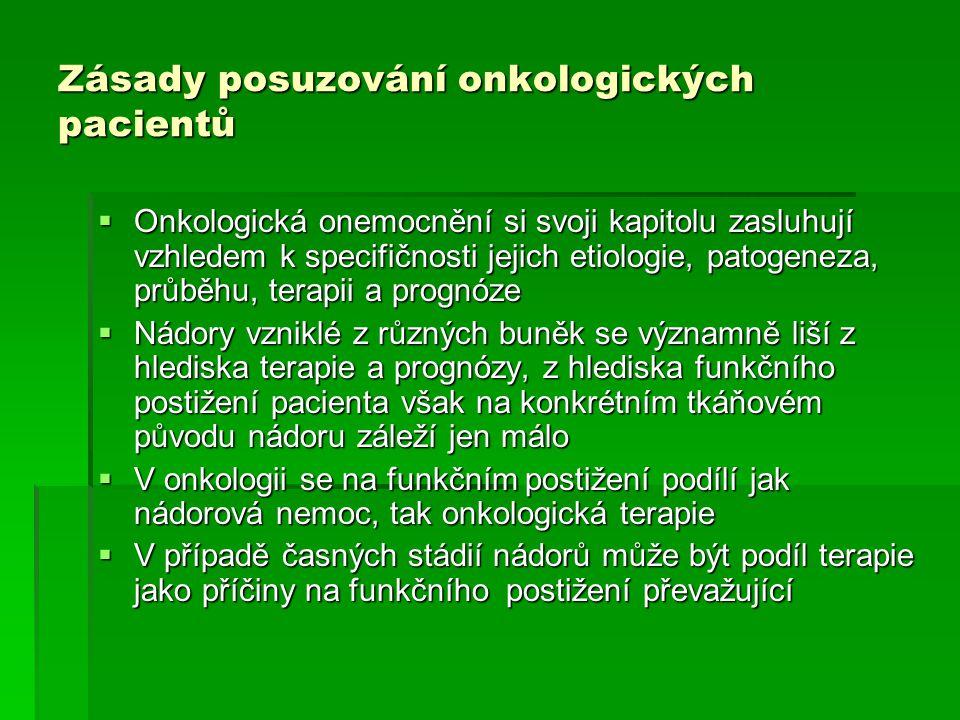 Zásady posuzování onkologických pacientů  Onkologická onemocnění si svoji kapitolu zasluhují vzhledem k specifičnosti jejich etiologie, patogeneza, p