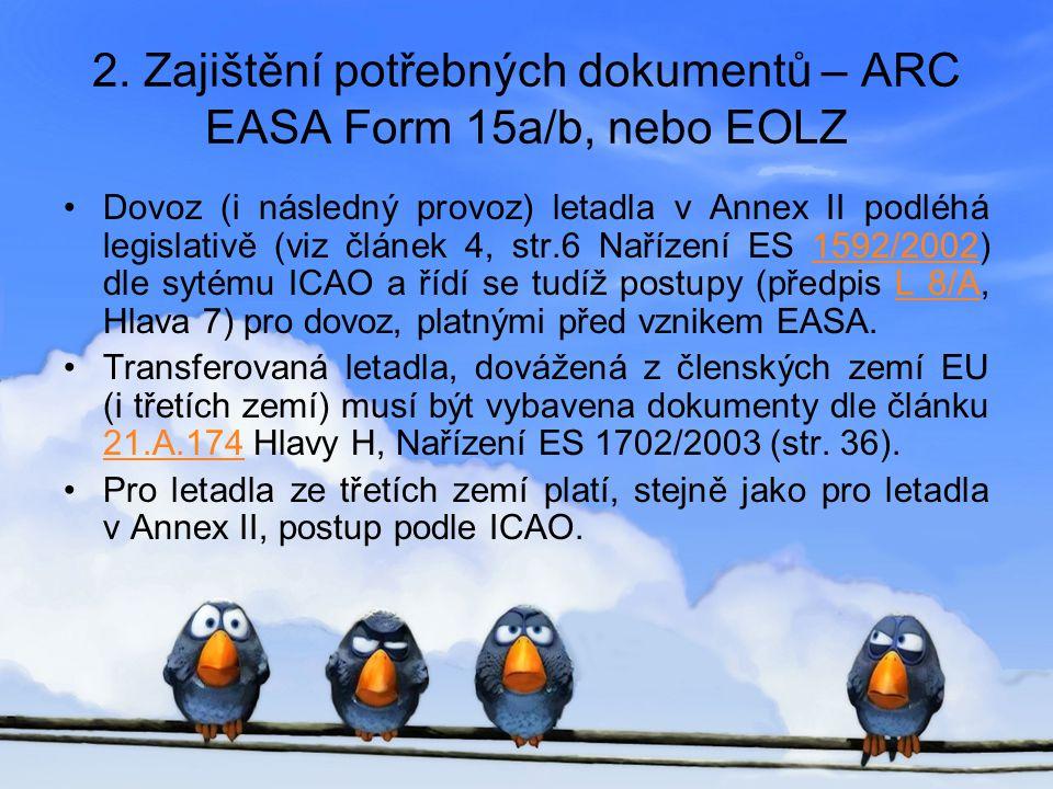 2. Zajištění potřebných dokumentů – ARC EASA Form 15a/b, nebo EOLZ •Dovoz (i následný provoz) letadla v Annex II podléhá legislativě (viz článek 4, st