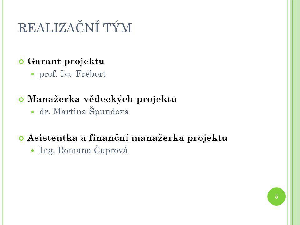 REALIZAČNÍ TÝM 5 Garant projektu  prof. Ivo Frébort Manažerka vědeckých projektů  dr. Martina Špundová Asistentka a finanční manažerka projektu  In