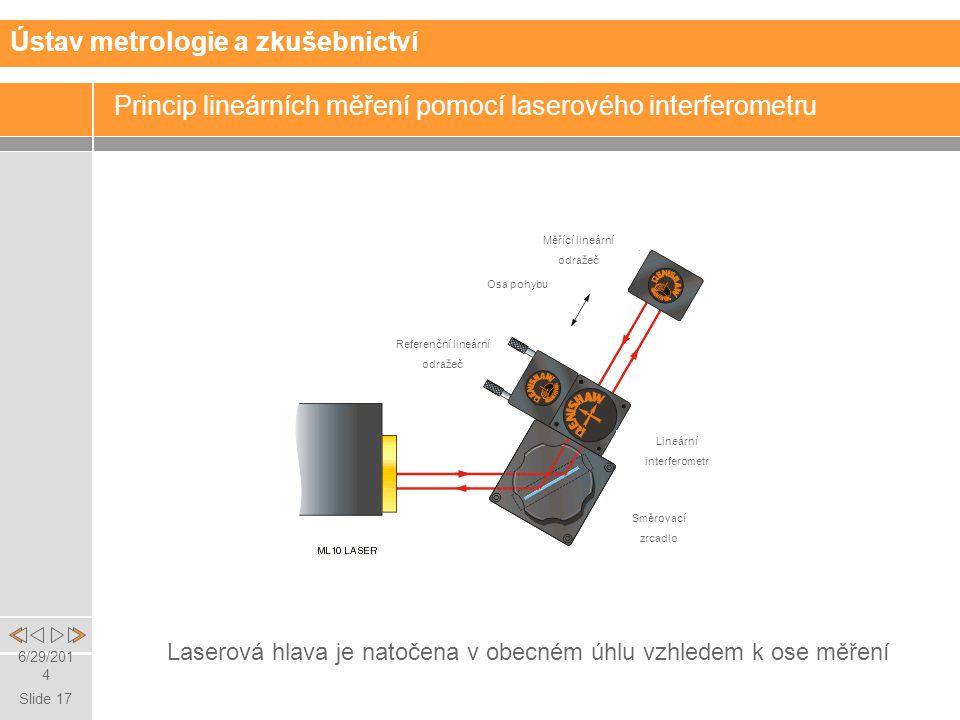 Slide 17 6/29/2014 Princip lineárních měření pomocí laserového interferometru Ústav metrologie a zkušebnictví Laserová hlava je natočena v obecném úhlu vzhledem k ose měření Referenční lineární odražeč Osa pohybu Měřící lineární odražeč Lineární interferometr Směrovací zrcadlo