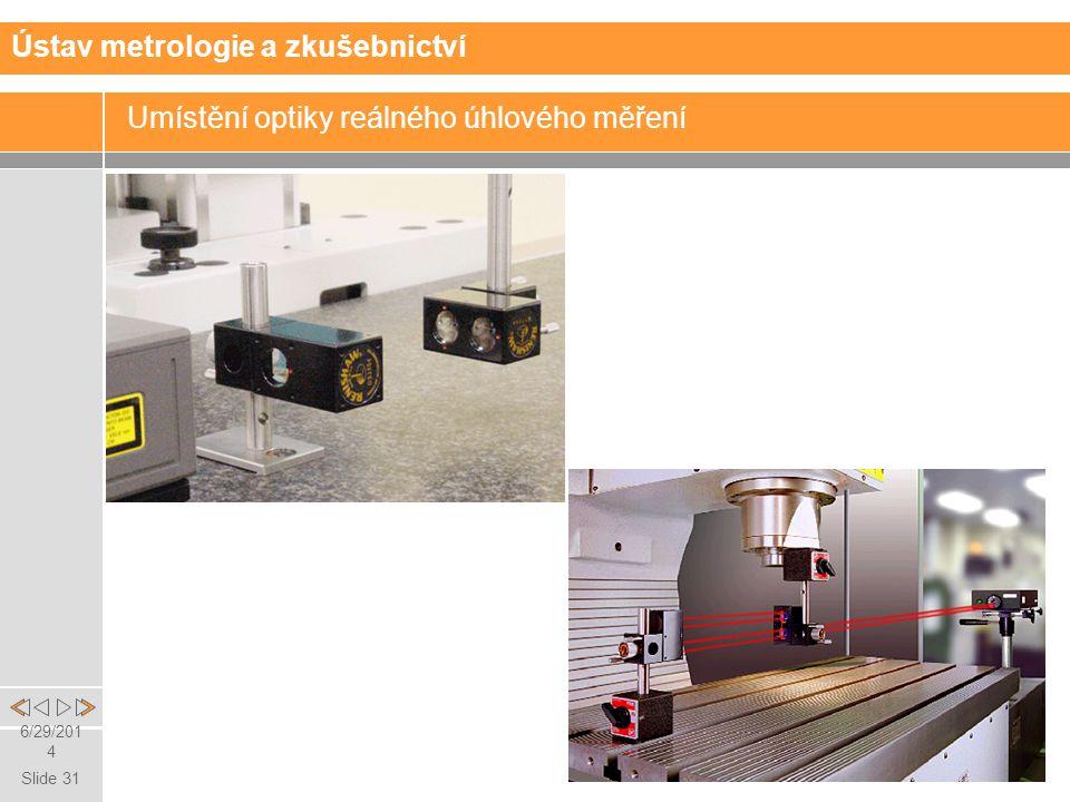 Slide 31 6/29/2014 Umístění optiky reálného úhlového měření Ústav metrologie a zkušebnictví
