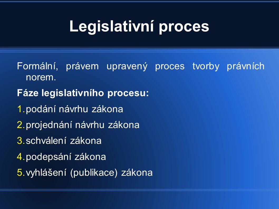 Legislativní proces Formální, právem upravený proces tvorby právních norem.