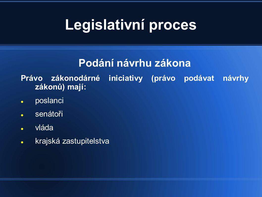 Legislativní proces Podání návrhu zákona Právo zákonodárné iniciativy (právo podávat návrhy zákonů) mají:  poslanci  senátoři  vláda  krajská zastupitelstva