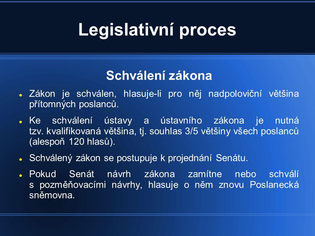 Legislativní proces Schválení zákona  Zákon je schválen, hlasuje-li pro něj nadpoloviční většina přítomných poslanců.