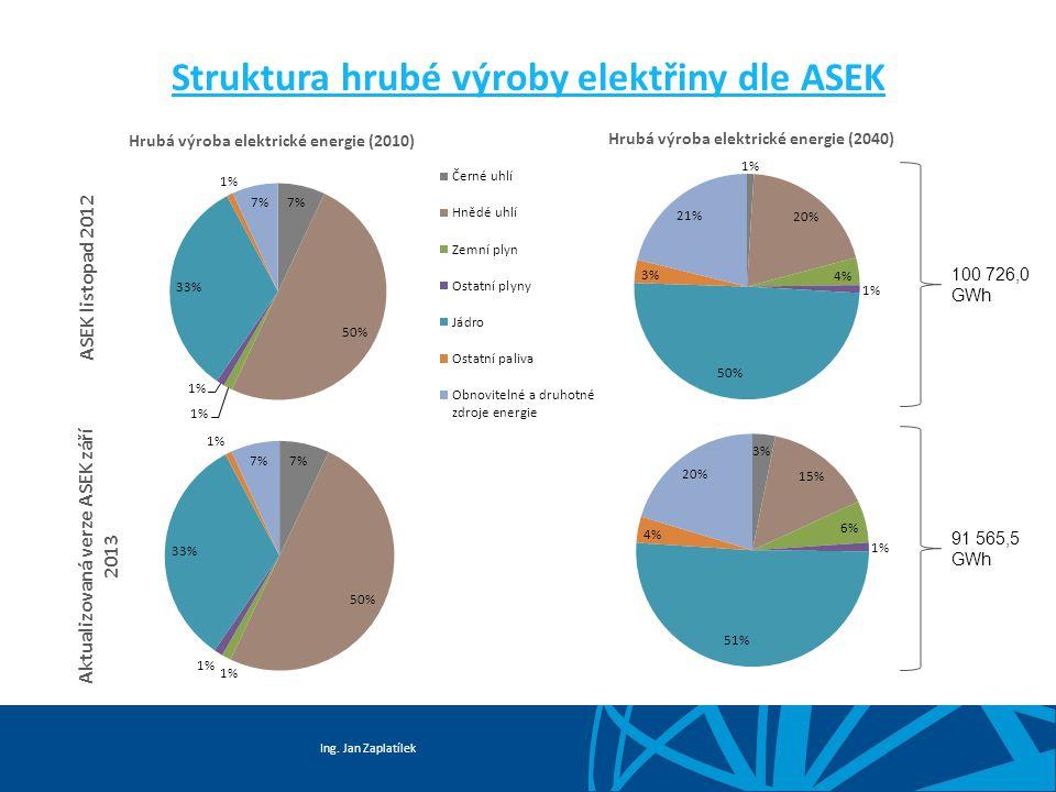 Ing. Jan Zaplatílek Struktura hrubé výroby elektřiny dle ASEK Aktualizovaná verze ASEK září 2013 ASEK listopad 2012 100 726,0 GWh 91 565,5 GWh