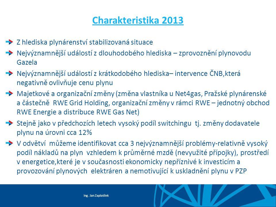 Ing. Jan Zaplatílek Charakteristika 2013 Z hlediska plynárenství stabilizovaná situace Nejvýznamnější událostí z dlouhodobého hlediska – zprovoznění p