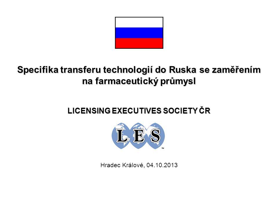 O B S A H 1.Hospodářství Ruska včera a dnes 2.Vývoj ruského farmaceutického trhu 3.Perspektivy rozvoje ruského farmaceutického průmyslu 4.TOP 10 farmaceutických výrobců v Rusku a jejich charakteristiky 5.Zaměření na biotechnologie a inovace 6.Výrobci biologických léků v Rusku 7.Patentová ochrana v Rusku 8.Příklady soudních sporů v oblasti patentové ochrany 9.Postup transferu technologií do Ruska 10.Příklady z praxe v oblasti transferu technologií 11.Rozvoj farmacie na Ukrajině a v dalších zemích SNS 12.