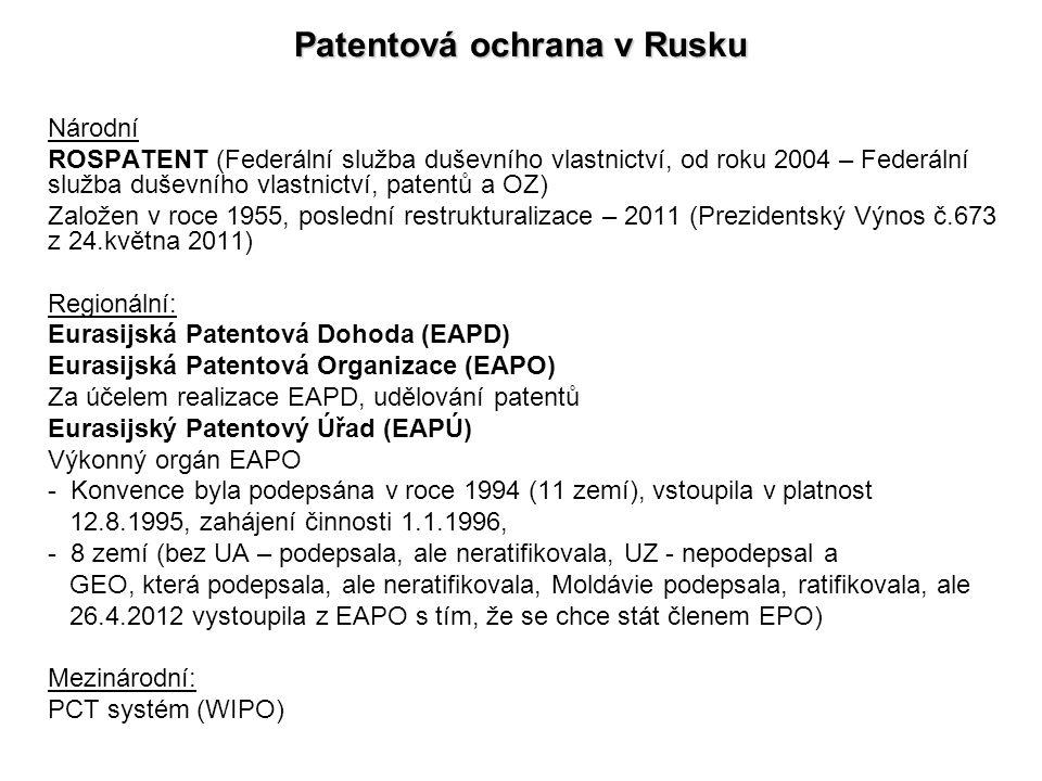 Patentová ochrana v Rusku Národní ROSPATENT (Federální služba duševního vlastnictví, od roku 2004 – Federální služba duševního vlastnictví, patentů a
