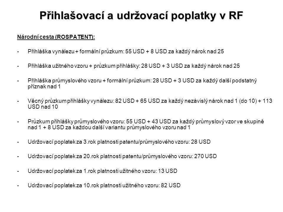 Přihlašovací a udržovací poplatky v RF Národní cesta (ROSPATENT): -Přihláška vynálezu + formální průzkum: 55 USD + 8 USD za každý nárok nad 25 -Přihlá