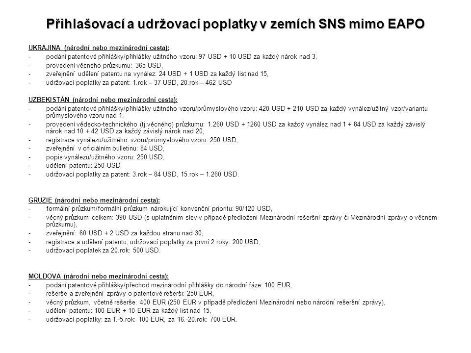 Přihlašovací a udržovací poplatky v zemích SNS mimo EAPO UKRAJINA (národní nebo mezinárodní cesta): -podání patentové přihlášky/přihlášky užitného vzo