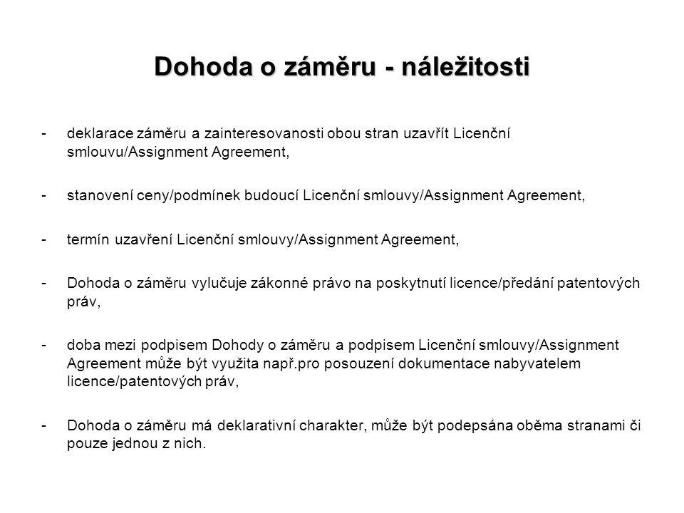 Dohoda o záměru - náležitosti -deklarace záměru a zainteresovanosti obou stran uzavřít Licenční smlouvu/Assignment Agreement, -stanovení ceny/podmínek
