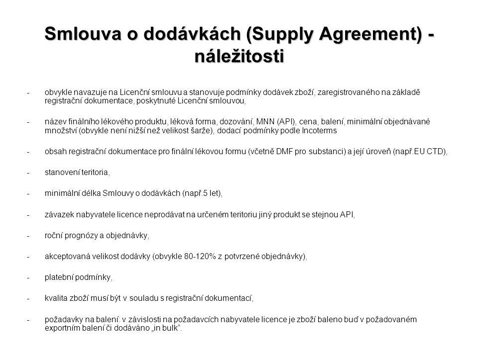 Smlouva o dodávkách (Supply Agreement) - náležitosti -obvykle navazuje na Licenční smlouvu a stanovuje podmínky dodávek zboží, zaregistrovaného na zák