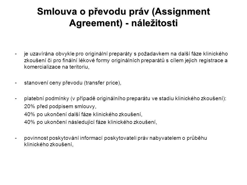 Smlouva o převodu práv (Assignment Agreement) - náležitosti -je uzavírána obvykle pro originální preparáty s požadavkem na další fáze klinického zkouš