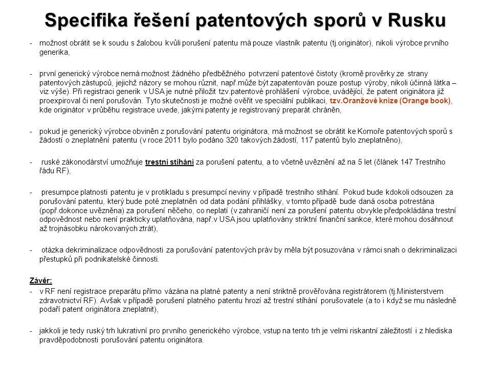 Specifika řešení patentových sporů v Rusku -možnost obrátit se k soudu s žalobou kvůli porušení patentu má pouze vlastník patentu (tj.originátor), nik