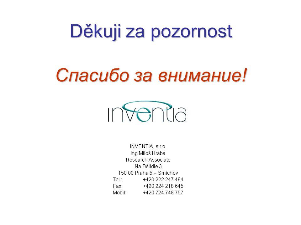 Děkuji za pozornost Спасибо за внимание! INVENTIA, s.r.o. Ing.Miloš Hraba Research Associate Na Bělidle 3 150 00 Praha 5 – Smíchov Tel.:+420 222 247 4