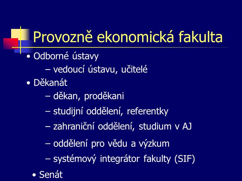 Provozně ekonomická fakulta • Odborné ústavy • Děkanát – děkan, proděkani – vedoucí ústavu, učitelé – studijní oddělení, referentky – zahraniční odděl