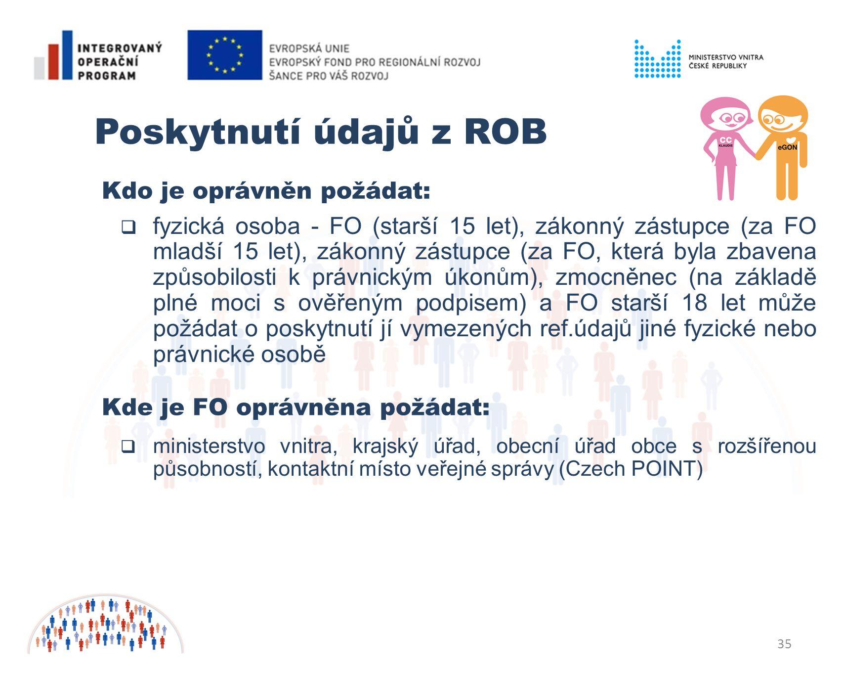 35 Poskytnutí údajů z ROB  fyzická osoba - FO (starší 15 let), zákonný zástupce (za FO mladší 15 let), zákonný zástupce (za FO, která byla zbavena způsobilosti k právnickým úkonům), zmocněnec (na základě plné moci s ověřeným podpisem) a FO starší 18 let může požádat o poskytnutí jí vymezených ref.údajů jiné fyzické nebo právnické osobě Kdo je oprávněn požádat: Kde je FO oprávněna požádat:  ministerstvo vnitra, krajský úřad, obecní úřad obce s rozšířenou působností, kontaktní místo veřejné správy (Czech POINT)
