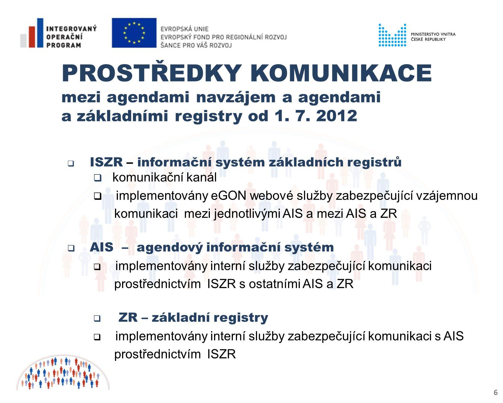  RPP – registr práv a povinností  zajišťuje přístup k údajům vedených v ZR a AIS na základě ověření v matici práv a oprávnění  neobsahuje žádné osobní údaje  zajišťuje bezpečnost osobních dat  je neveřejný, komunikuje pouze s ISZR  ORG – specifický informační systém ZR (tzv.