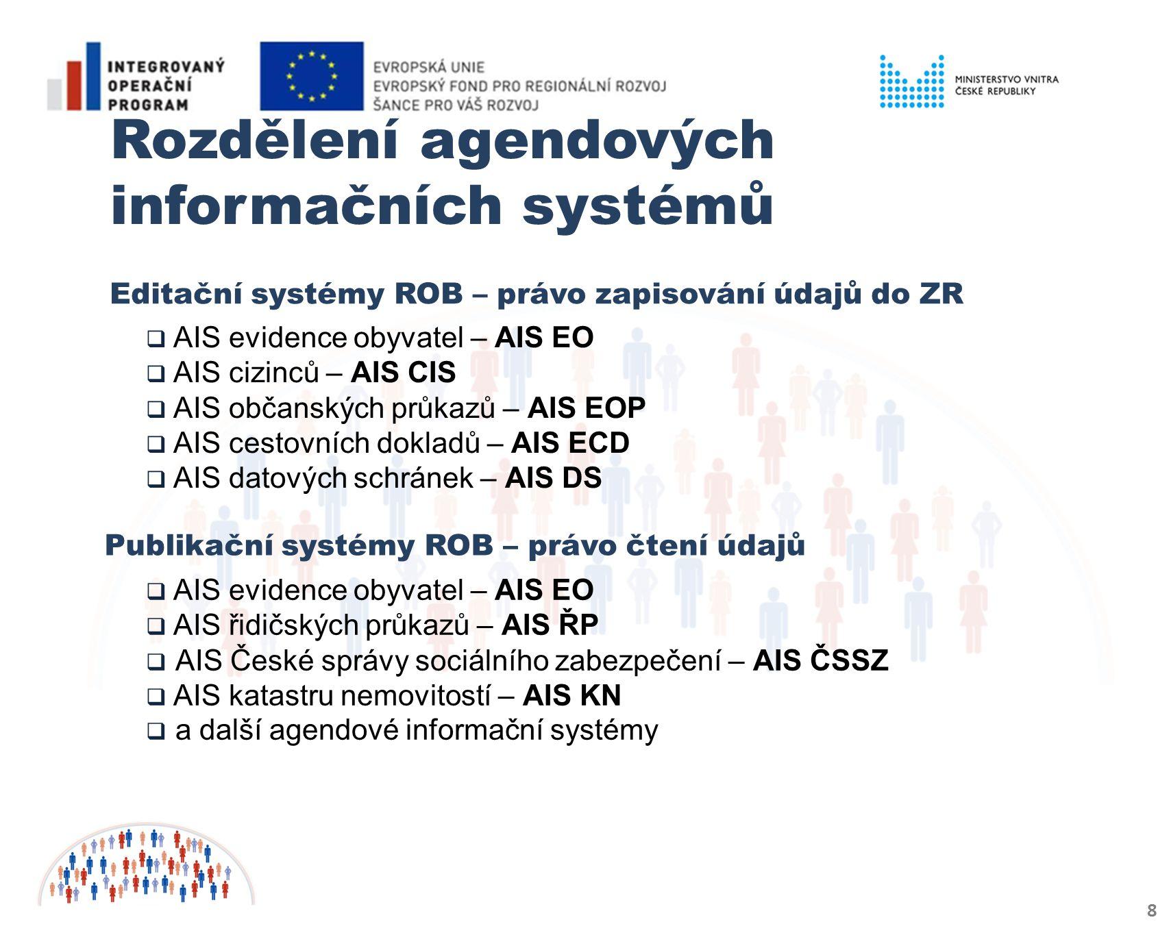 8 Rozdělení agendových informačních systémů Editační systémy ROB – právo zapisování údajů do ZR Publikační systémy ROB – právo čtení údajů  AIS evidence obyvatel – AIS EO  AIS cizinců – AIS CIS  AIS občanských průkazů – AIS EOP  AIS cestovních dokladů – AIS ECD  AIS datových schránek – AIS DS  AIS evidence obyvatel – AIS EO  AIS řidičských průkazů – AIS ŘP  AIS České správy sociálního zabezpečení – AIS ČSSZ  AIS katastru nemovitostí – AIS KN  a další agendové informační systémy