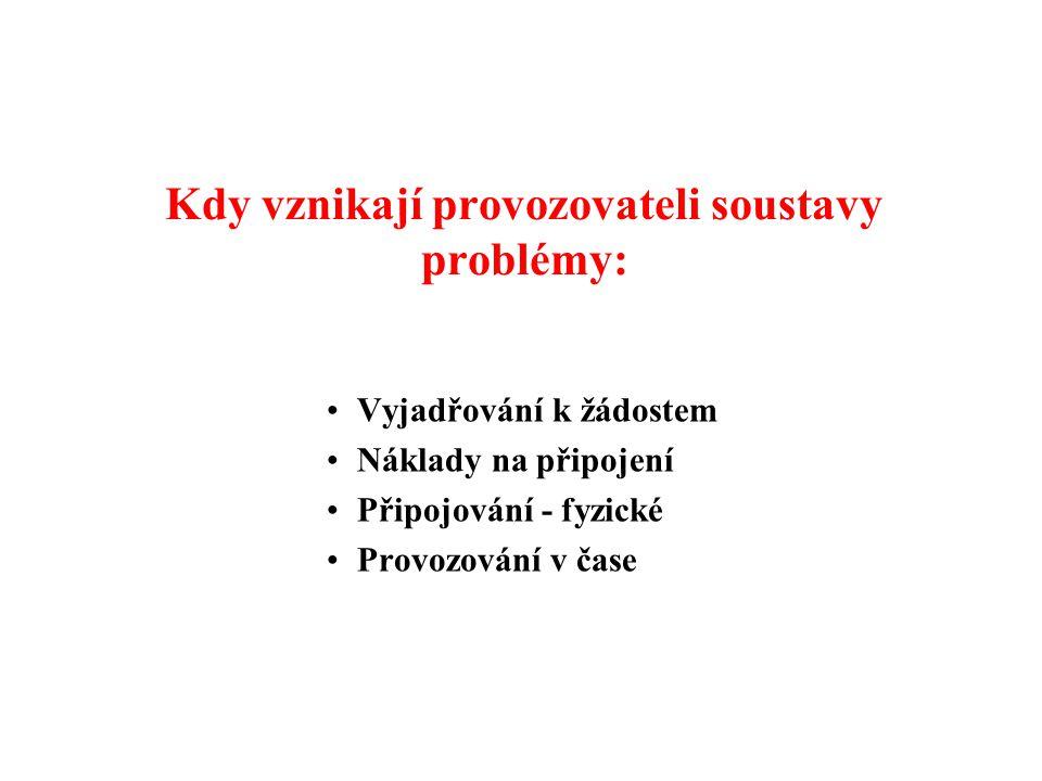 Kdy vznikají provozovateli soustavy problémy: •Vyjadřování k žádostem •Náklady na připojení •Připojování - fyzické •Provozování v čase
