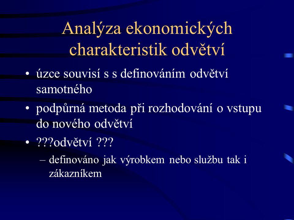 Analýza ekonomických charakteristik odvětví •úzce souvisí s s definováním odvětví samotného •podpůrná metoda při rozhodování o vstupu do nového odvětv
