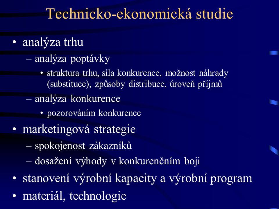 Technicko-ekonomická studie •analýza trhu –analýza poptávky •struktura trhu, síla konkurence, možnost náhrady (substituce), způsoby distribuce, úroveň