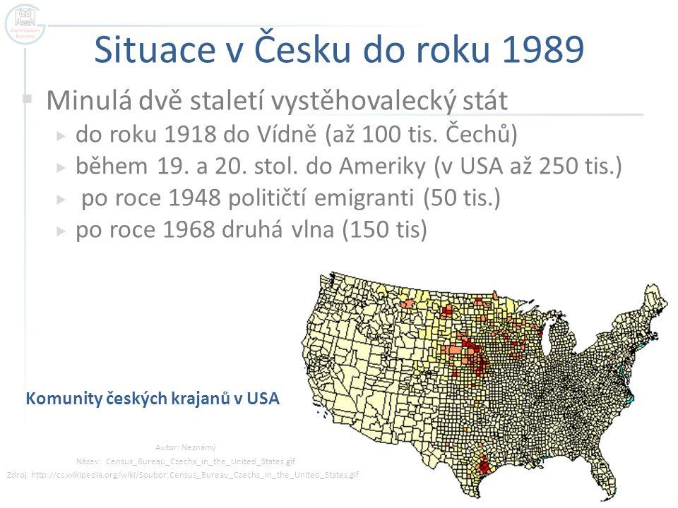 Situace v Česku do roku 1989  Minulá dvě staletí vystěhovalecký stát  do roku 1918 do Vídně (až 100 tis. Čechů)  během 19. a 20. stol. do Ameriky (