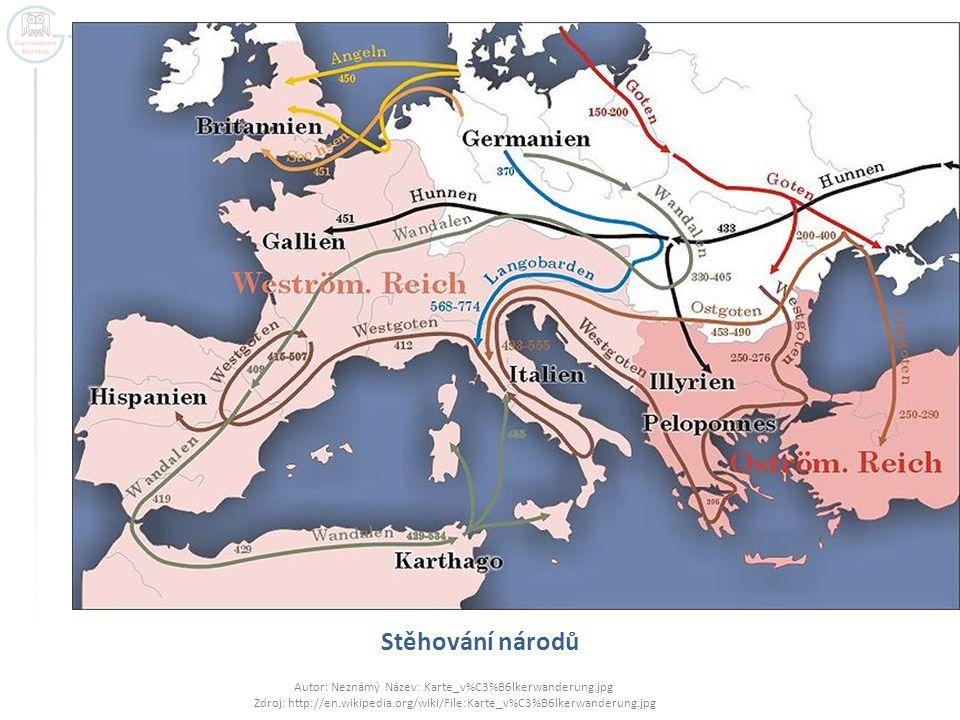 Stěhování národů Autor: Neznámý Název: Karte_v%C3%B6lkerwanderung.jpg Zdroj: http://en.wikipedia.org/wiki/File:Karte_v%C3%B6lkerwanderung.jpg