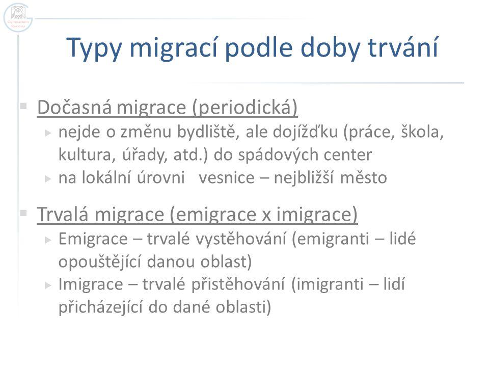Typy migrací podle doby trvání  Dočasná migrace (periodická)  nejde o změnu bydliště, ale dojížďku (práce, škola, kultura, úřady, atd.) do spádových